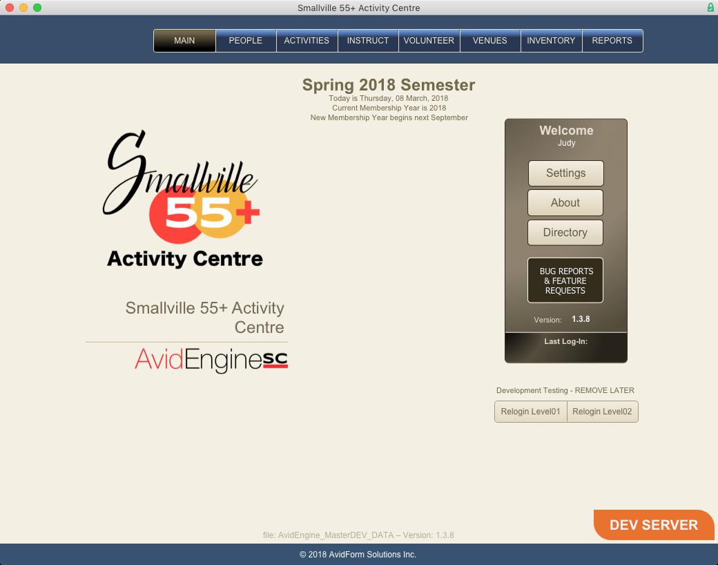 AvidEngineSC Splash Screen - Login